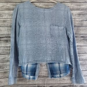 Cloth & Stone Striped Button Back Long Sleeve Top